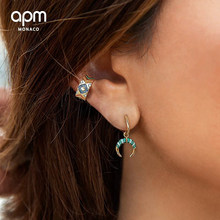 Tribal style color drill ear clip 925 pure silver micro inlaid zircon leisure simple fashion personality high-end women