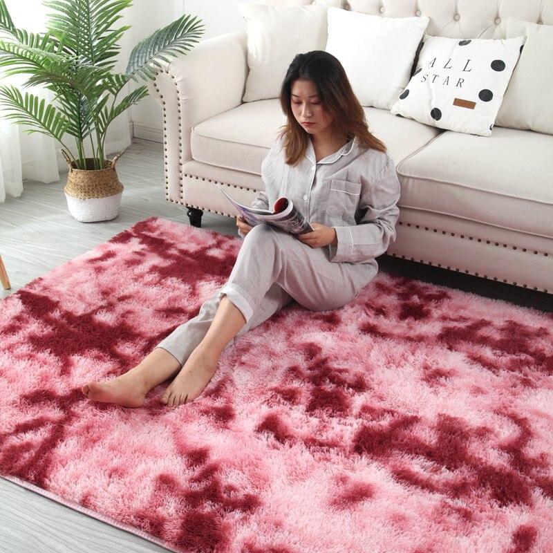 Tapis dégradé de teinture marbré salon Table basse tapis de sol épais dégradé couverture de peau douce cryptage tapis épais