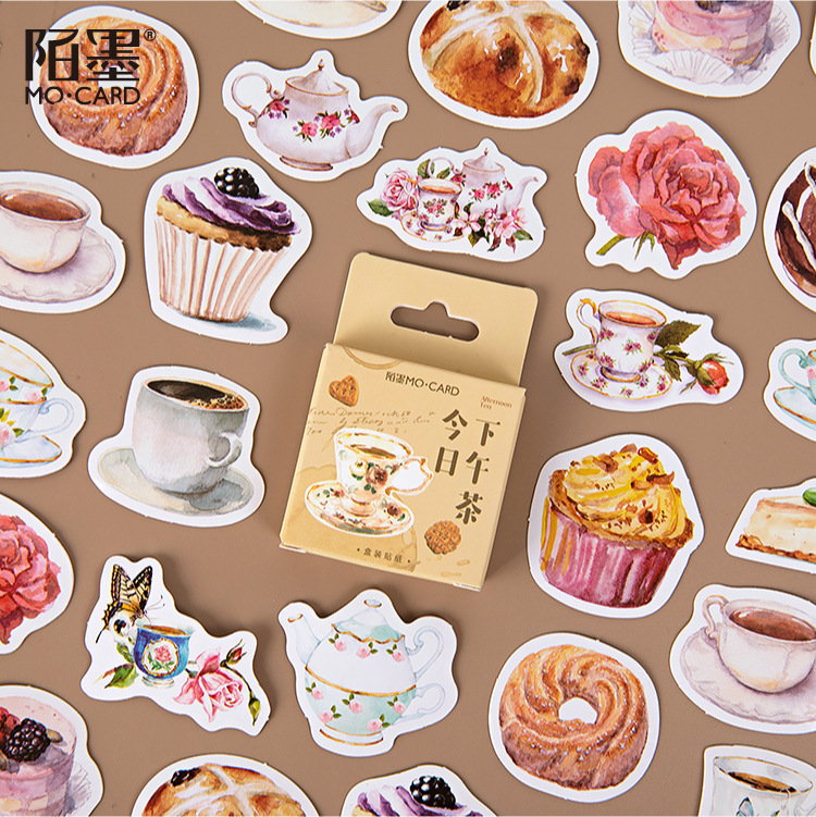 45pcs/1lot Kawaii Stationery Stickers Retro dessert Diary Decorative Mobile Stickers Scrapbooking DIY Craft Stickers image