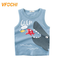 VFOCHI 2019 Boys Vest T Shirt Cartoon Shark Print Kids Sleeveless Tee Shirt 2-10Y Teenager Boy Tops Cute Boy Clothes Boy Vest цена и фото