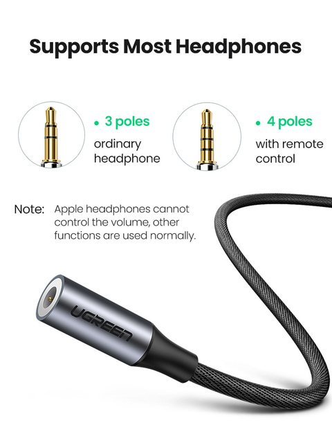 Ugreen Type C 3.5 Jack Earphone USB C to 3.5mm AUX Headphones Adapter Audio cable For Huawei V30 mate 20 P30 pro Xiaomi Mi 10 9