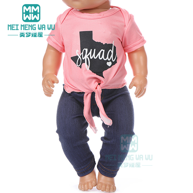 Doll Clothes Pink T-shirt, Trousers Casual Outfit For 43 Cm Toy New Born Doll Baby 18 Inch American Doll Our Generation