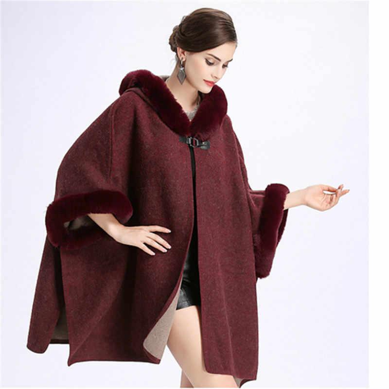 2019 com capuz quente do falso coelho gola de pele cardigan poncho capes feminino inverno manto longo poncho casaco de lã cape feminino s413