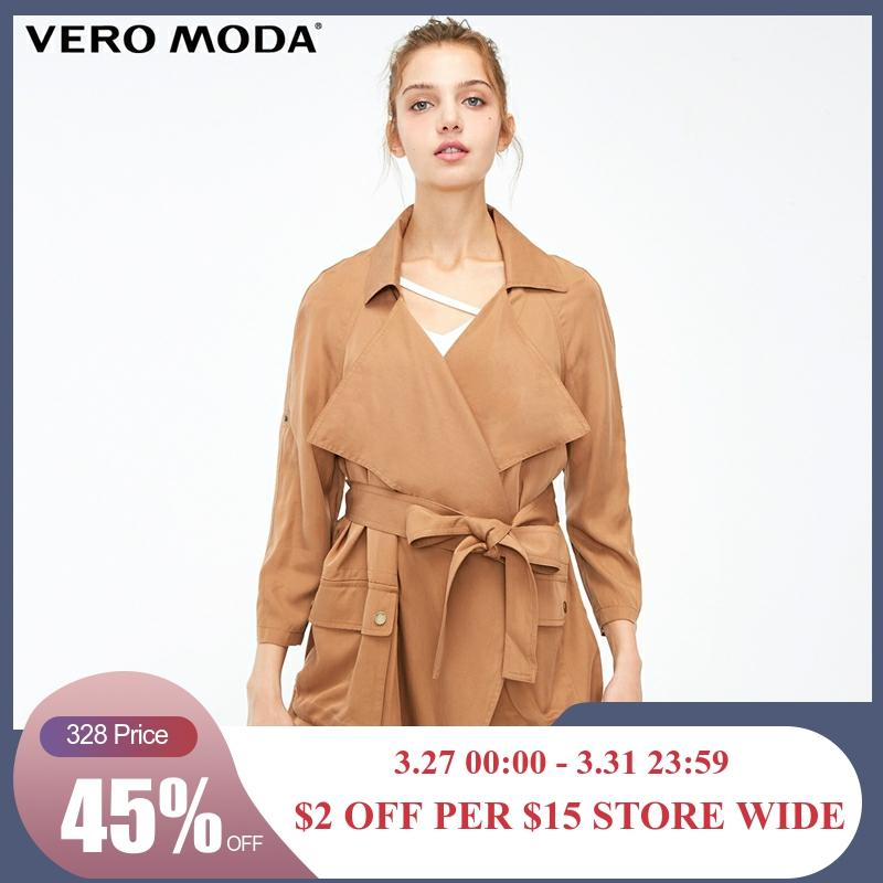 Vero Moda Women's Two-way Sleeves Turn-down Collar Wind Coat | 318317511