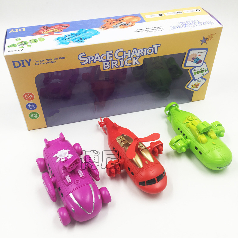 Creative Space Pull Back Car Disassembly Combat Team Airplane/Tank/Submarine 3-DIY-Joint Children'S Educational Toy