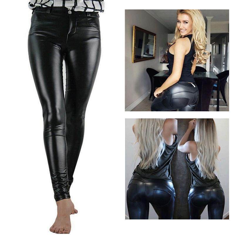 Women High Waist Stretch Pu Leather   Pants   Open Crotch Leggings Push Up Sexy Wet Look PVC Faux Trousers BLack Streetwear   Pants
