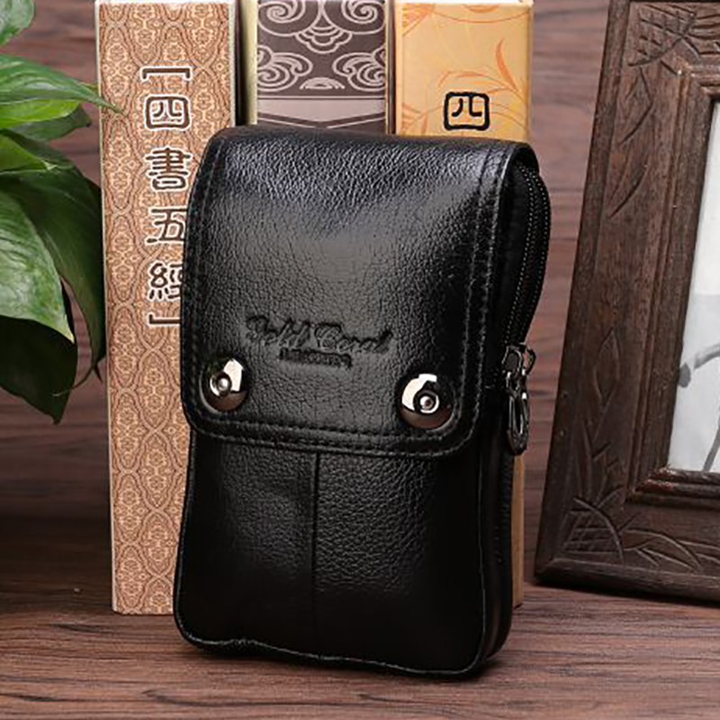 New Arrival Waist Bag Men Genuine Leather Hook Fanny Pack Cell/Mobile Phone Case Belt Purse Small Messenger Cross Body Bags