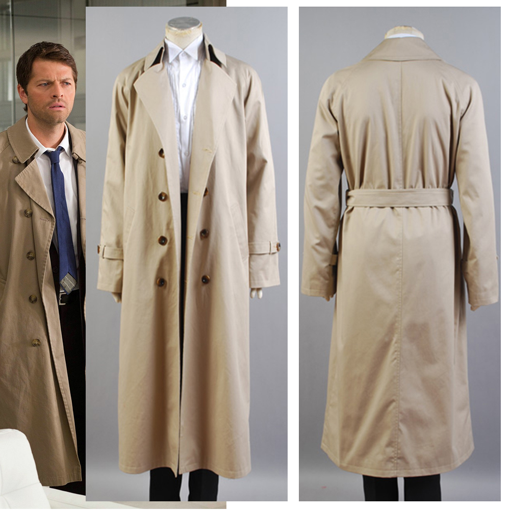 Supernatural Costume Castiel Twill Cosplay Costume For Men Long Trench Coat Only Halloween Costume Custom Made 2 orders
