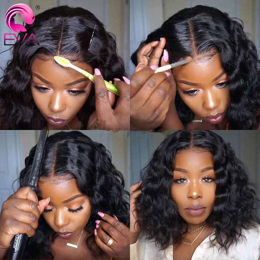 Эва волосы 360 кружева фронта al парик предварительно сорвал с ребенком волос короткий Боб кружева фронта человеческих волос парик для черных женщин бразильские волосы Remy