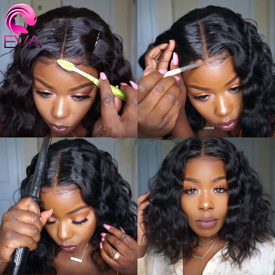 Eva Hair 360 Lace Frontal Wig Pre Plucked With Baby Hair Short Bob Lace Front Human Hair Wig For Black Women Brazilian Remy Hair