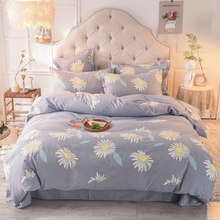 Luxury 4 Piece Twin Queen King size Bedding set Brushed Cotton Floral Pattern Soft and Warm Duvet Cover Fitted Bed Sheet Set(China)