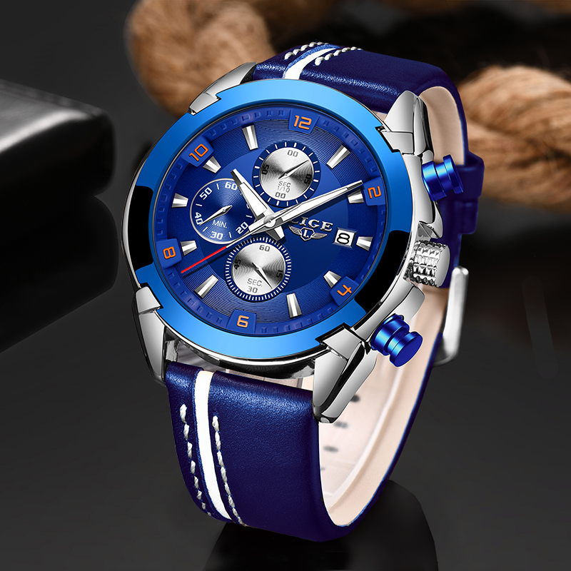 LIGE Leather Band Quartz Men's Watches Top Luxury Brand Multifunction Sports Chronograph Watch Men Date Clock Relogio Masculino