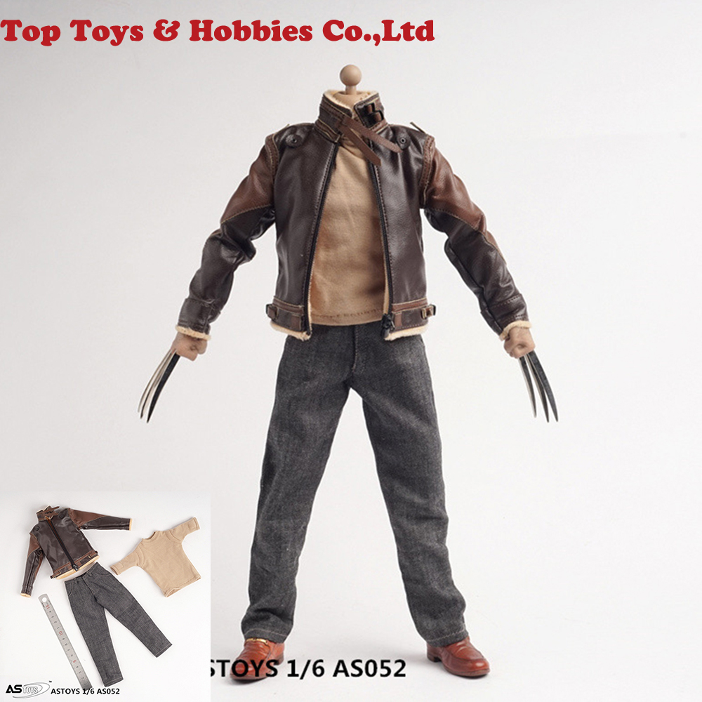 AS052 1/6 Male Clothing Set Wolverine Connor Ratohnhake:ton Leather Suit Jeans Clothes Set Fit Logan Head 12inches Male Body