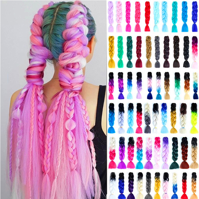 "24"" Kanekalon Jumbo Braiding Hair Extensions Long Ombre Synthetic Braid Hair Pink Blue Grey Xpression Crochet Braids Hair Rastas"