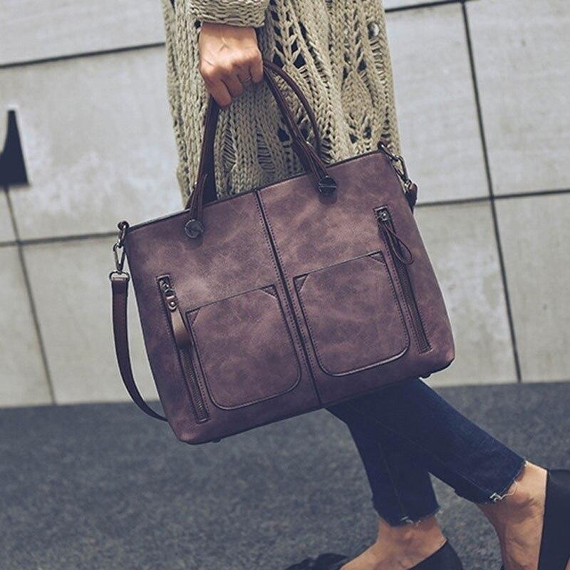 Vintage Luxury Handbag Female Causal Totes Bag Leather Women Handbag Messenger Bag Clutch Handbags Winter Bolsa Feminina