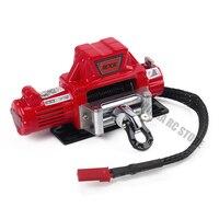 1 pçs mini simulado fio de aço guincho elétrico automático preto/vermelho/cinza para 1/10 rc rastreador traxxas trx4 axial scx10 90046 d90|Peças e Acessórios| |  -