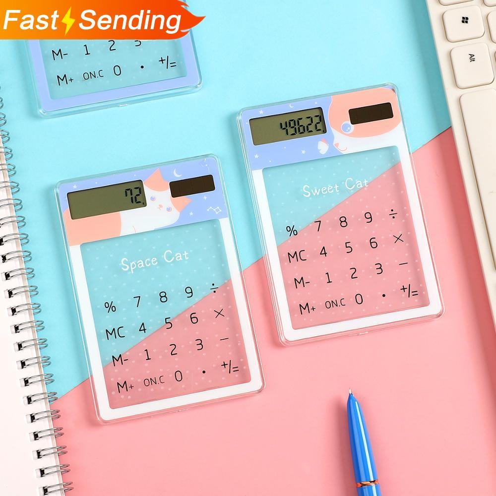 Transparente bonito dos desenhos animados calculadora de 8 dígitos energia solar mini portátil calculadora material escolar kawaii