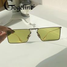 Moda zielony metalowy okulary przeciwsłoneczne Cat eye dla kobiet mężczyzn Retro mały czarny różowy Cateye okulary kobieta UV400 kwadratowe odcienie tanie tanio Gogeline CN (pochodzenie) WOMEN KOCIE OKO Adult STOP NONE 32mm Z tworzywa sztucznego cat eye sunglasses for women men 50mm