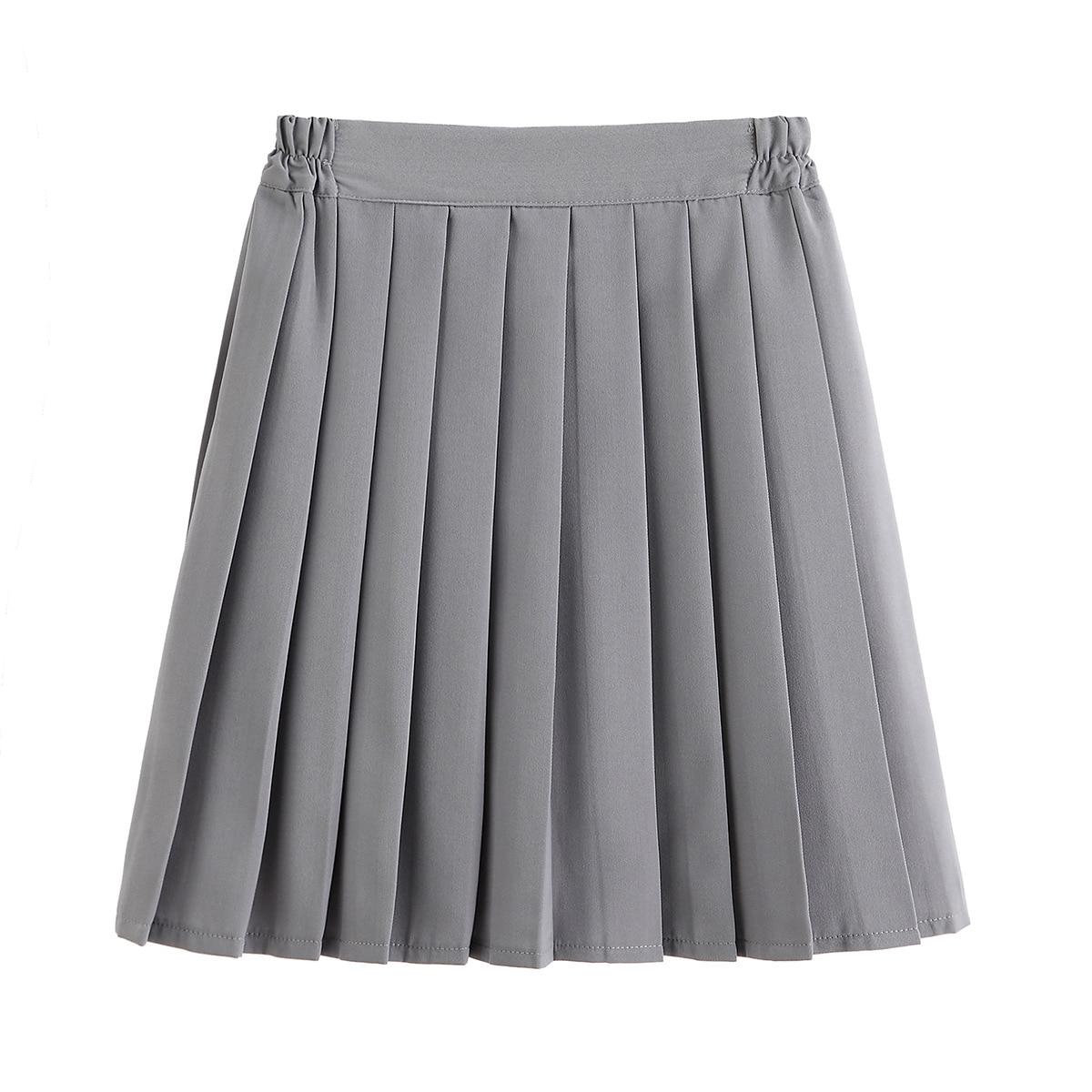 JK Uniform Skirt Autumn New Japanese College Style Middle School Student Class Service Elastic Waist Gray Pleated Skirt