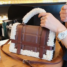 Модная женская сумка из овечьей шерсти дизайнерская плюшевая