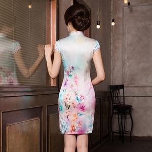 Image 4 - 2019 ขายสั้น Vestido De Debutante ฤดูร้อนใหม่แฟชั่นพิมพ์ผ้าไหม Cheongsam กระโปรงคลาสสิกแยก Slim Dress ผม Substitute