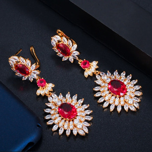 Image 2 - CWWZircons Yellow Gold Color Indian Red CZ Crystal Vintage Ethnic Bridal Long Big Wedding Earrings Jewelry for Women CZ301