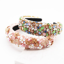 Baroque fashion luxury temperament sponge rhinestone pearl wild headband street shooting personality prom hair accessories 757