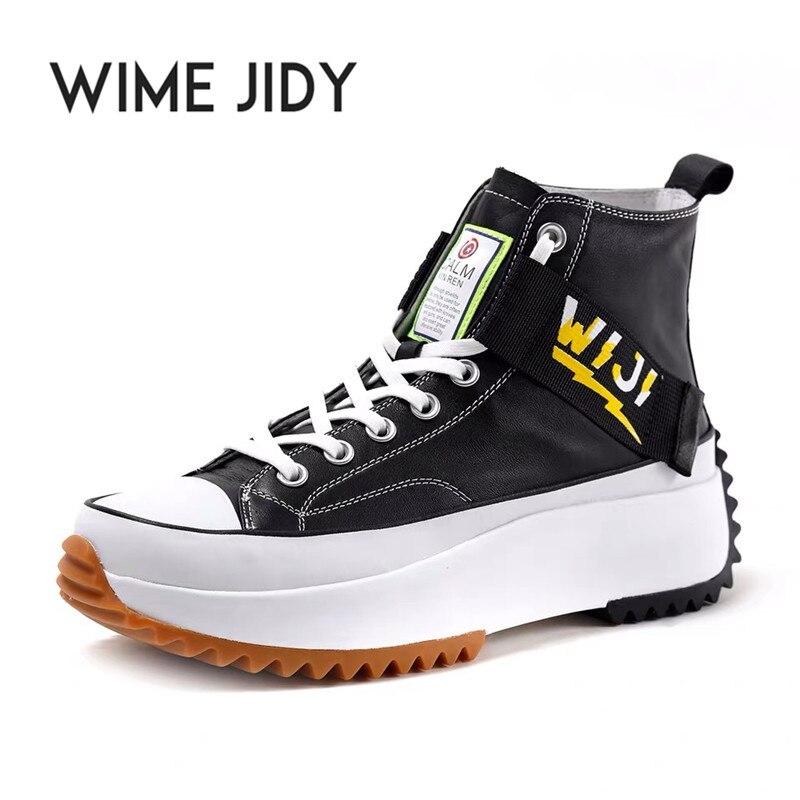 Nouveau haut haut plate forme baskets noir unisexe en cuir véritable semelle épaisse chaussures homme hauteur augmenter chaussures grosses chaussures de marche hommes