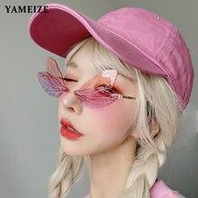 Женские солнцезащитные очки без оправы yameize уникальные «кошачий