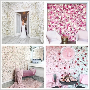 flower wall 40x60cm silk rose artificial flowers wedding decoration white pink romantic for wedding background decoration(China)