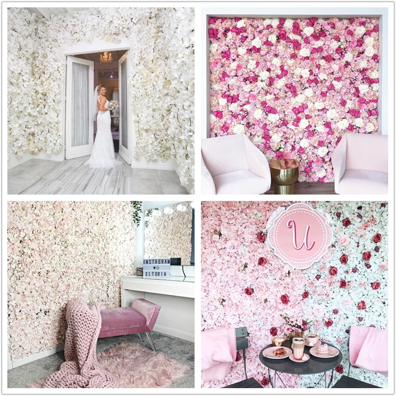 flower wall 40x60cm silk rose artificial flowers wedding decoration white pink romantic for wedding background decoration