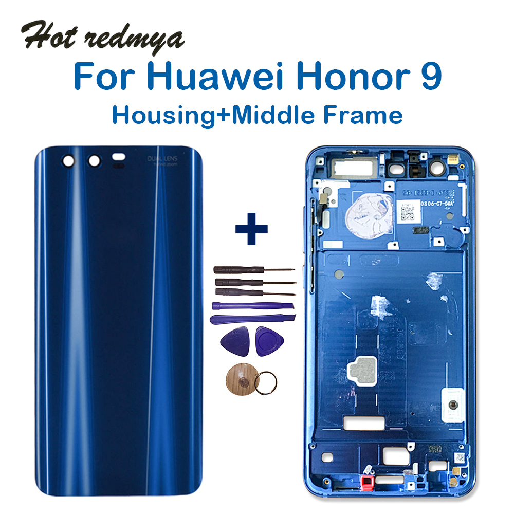 For Huawei Honor 9 Middle Frame Bezel Plate +Back Housing For Honor 9 Battery Cover Replacement Parts With Tools