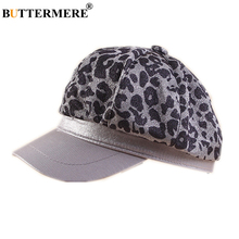 BUTTERMERE Leopard Newsboy Cap for Female Autumn Winter Women Fashion Flat Patchwork Ladies Casual Japanese Octagonal Hat