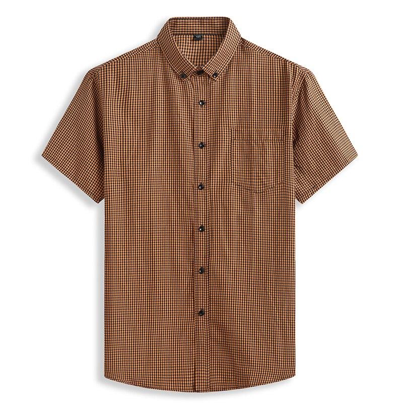 Chemise à manches courtes pour hommes, grande taille, en coton pur, confortable, à carreaux, ample, grande taille, 8XL, décontracté