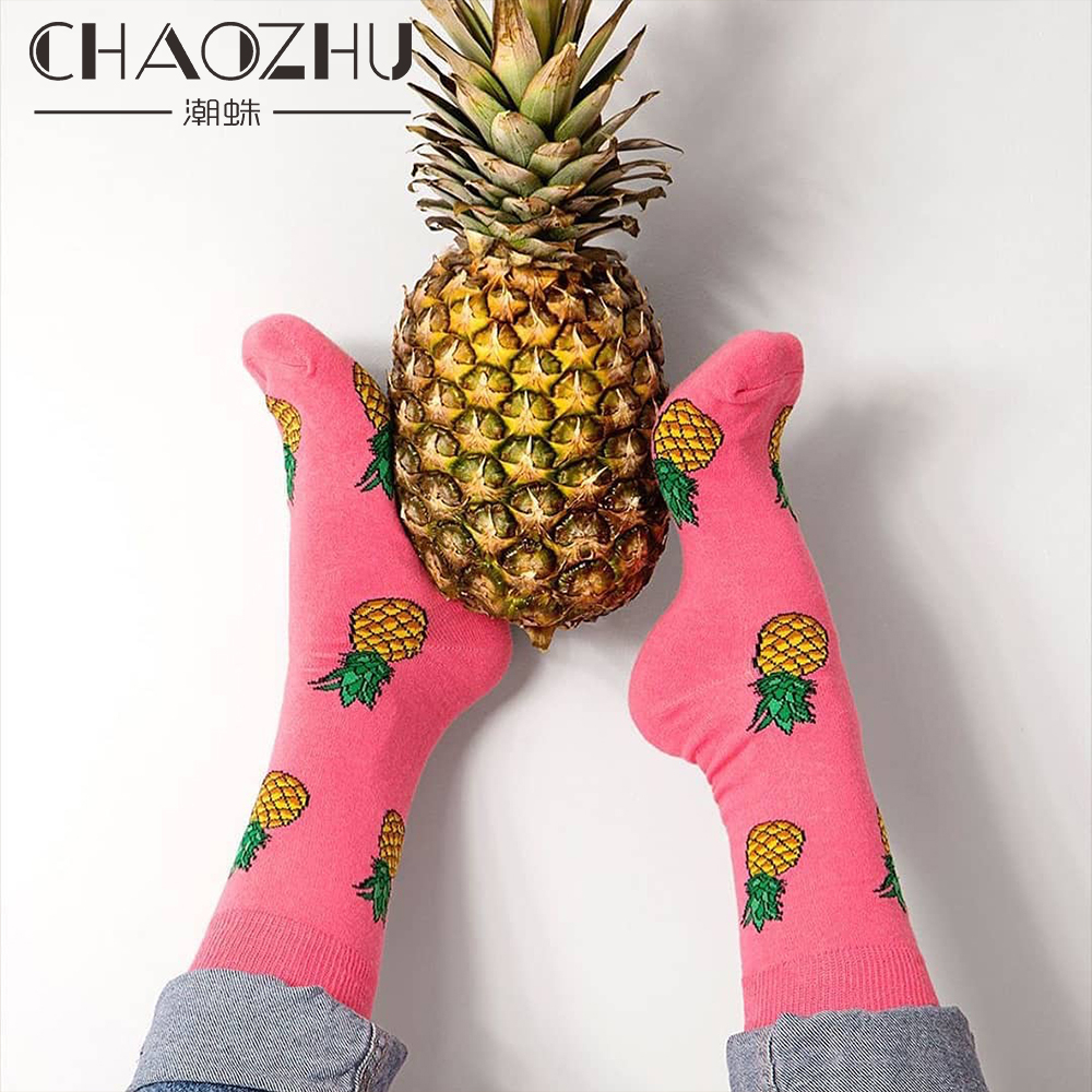 CHAOZHU Happy Socks Men Women Couple Lover Best Friend Gift Sox Fashion Cute Cartoon Animals Fruits Quality Cotton Streetwear