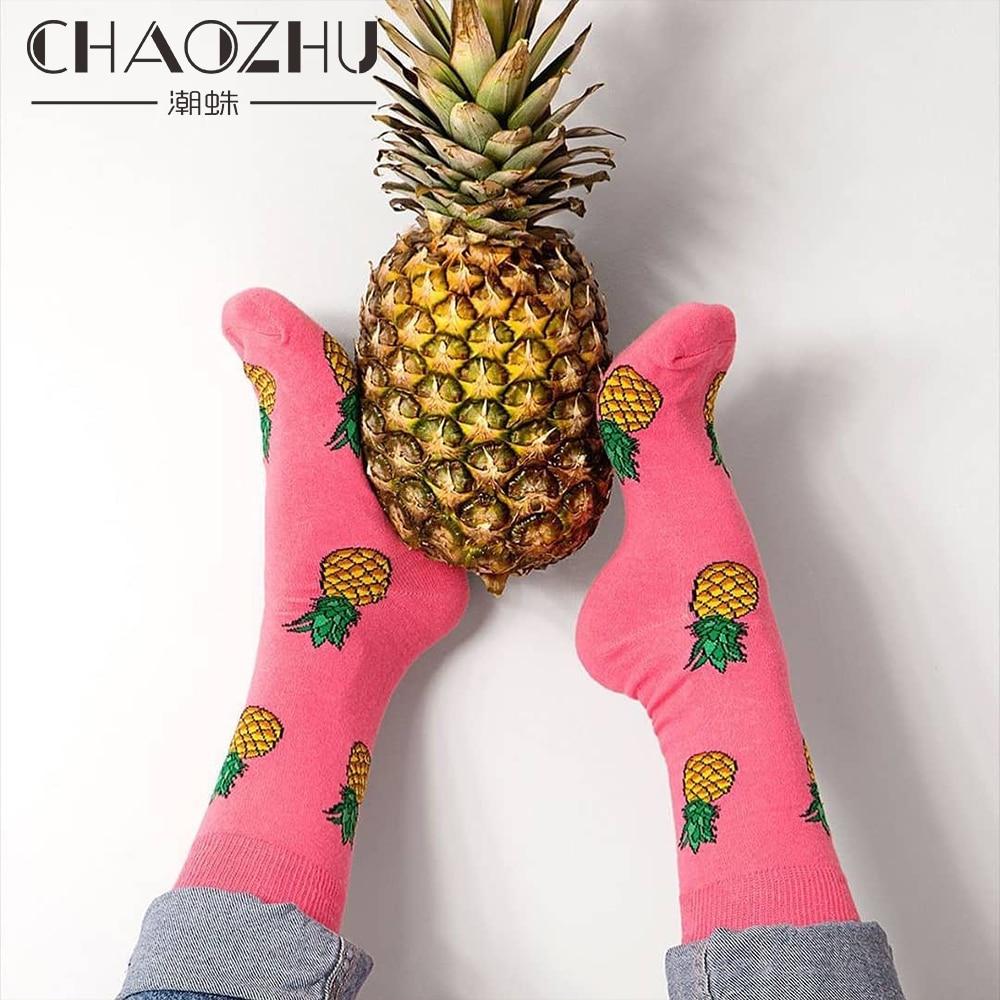 CHAOZHU Happy Socks Men Women Couple Lover Best Friend Gift Sox Fashion Cute Cartoon Animals Fruits Quality Cotton Streetwear