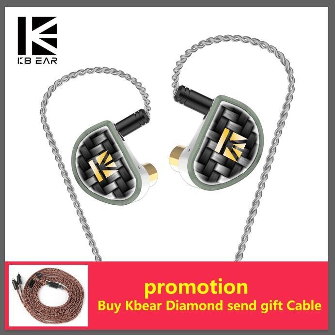 KBEAR diamond Diamond-like carbon (DLC) coated PET In ear Earphone with Detached 2pin cable HiFi DJ sports Balanced headset KB06