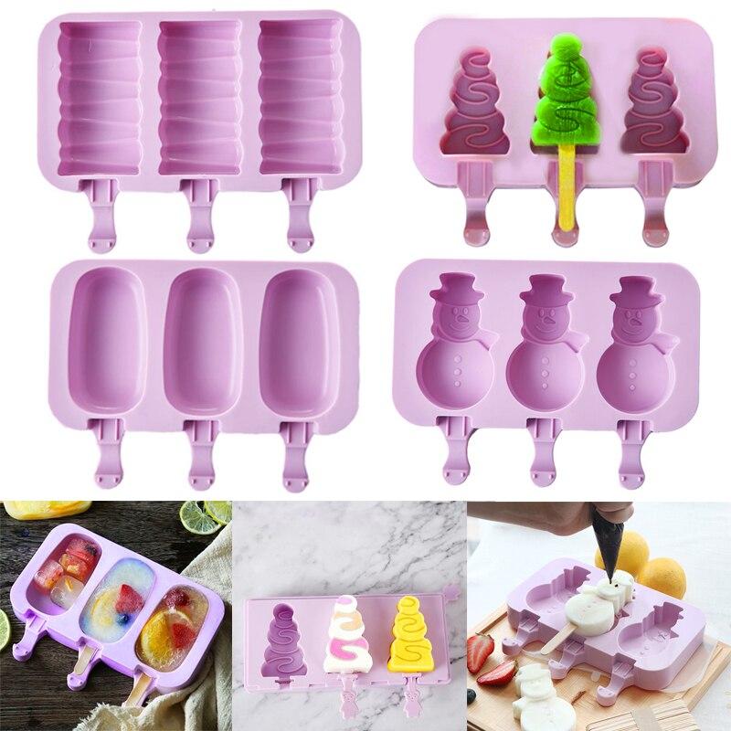 Рождественские силиконовые формы, форма для мороженого, лоток, легко снимается с Деревянными Палочками