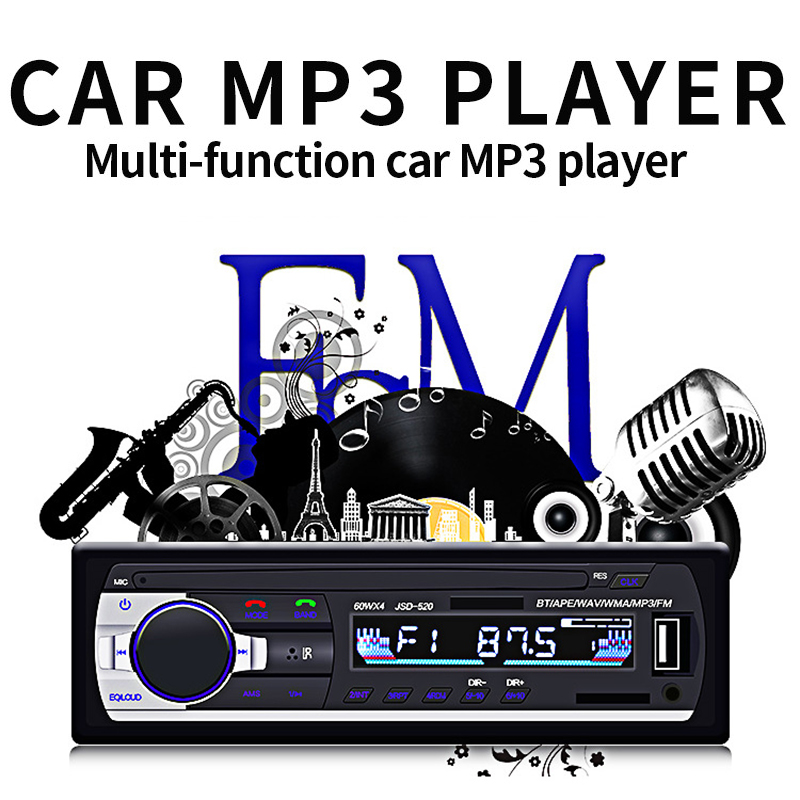 ISO 12V Bluetooth Car Stereo In-dash 1 Din FM Aux Input Support Mp3/MP4 USB MMC WMA AUX IN TF Car Radio Player dfdf image