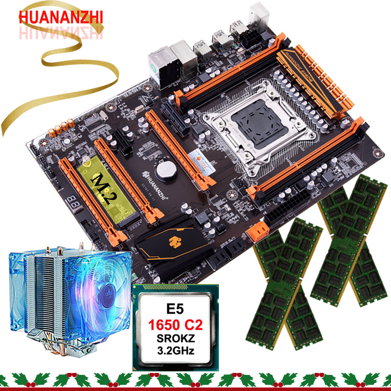 Discount Motherboard Set HUANANZHI X79 Gaming Motherboard With M.2 Slot CPU Xeon E5 1650 C2 With Cooler RAM 16G(4*4G) REG ECC