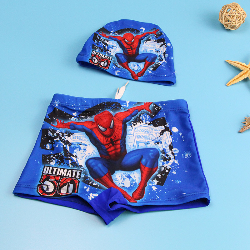 Kids Boys Swim Trunks Spiderman For Baby Boys Swimsuit Trunk Set With Cap Mickey Children Cartoon Printed Swimming Trunks Summer