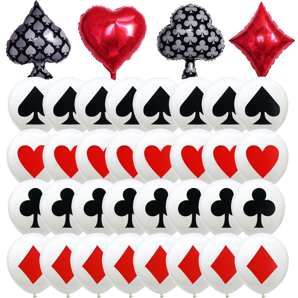 2/12 шт. 12/18 дюймов казино покера латексных воздушных шаров с алюминиевой фольги воздушные шары для свадьбы для рождественской вечеринки детс...