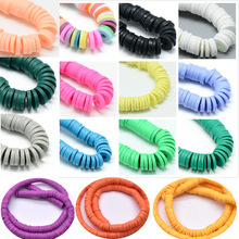 1 String 6mm DIY Jewelry Findings Clay Beads Mix Color And Mix Design Bracelet Boho Jewelry Earring Spacer Beads Disk Wholesale