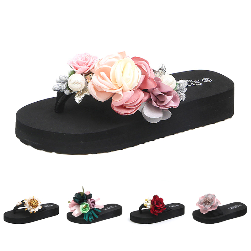 Summer Fashion Kids Slippers Rhinestone Girls Flip Flops Beach Shoes Children Comfortable Artificial Flower Slippers For Girls