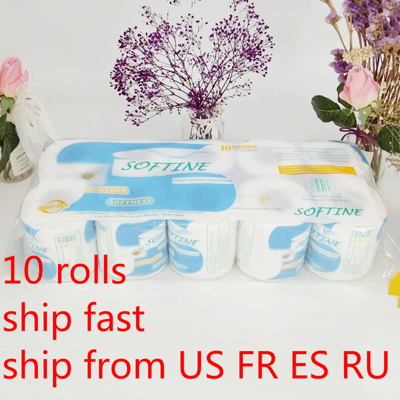 10 Roll/lot White Toilet Paper Soft Absorbent High-quality Toilet Paper 3 Lay Toilet Paper Home Kitchen Toilet Tissue Roll Paper