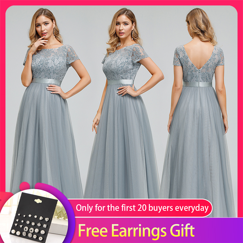 Elegant Lace Prom Dresses Long Queen Abby A-Line O-Neck Short Sleeve See-Through Grey Formal Floor-Length Party Gowns 2020