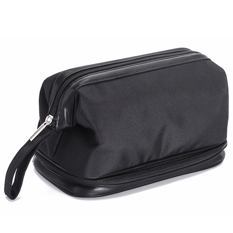 Black Double-Deck Waterproof Cosmetic Bag Men Wash Shaving Travel Organizer Bag Necessaries Large Capacity Women Toilet Makeup B