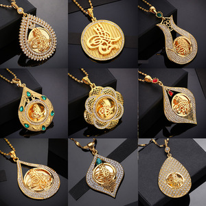 Image 1 - Crystal Muslim Islam Coin Necklace Women/Men Gold Color Turkey Wedding Jewelry Turkish Coin Lucky Allah Pendant Never Faded