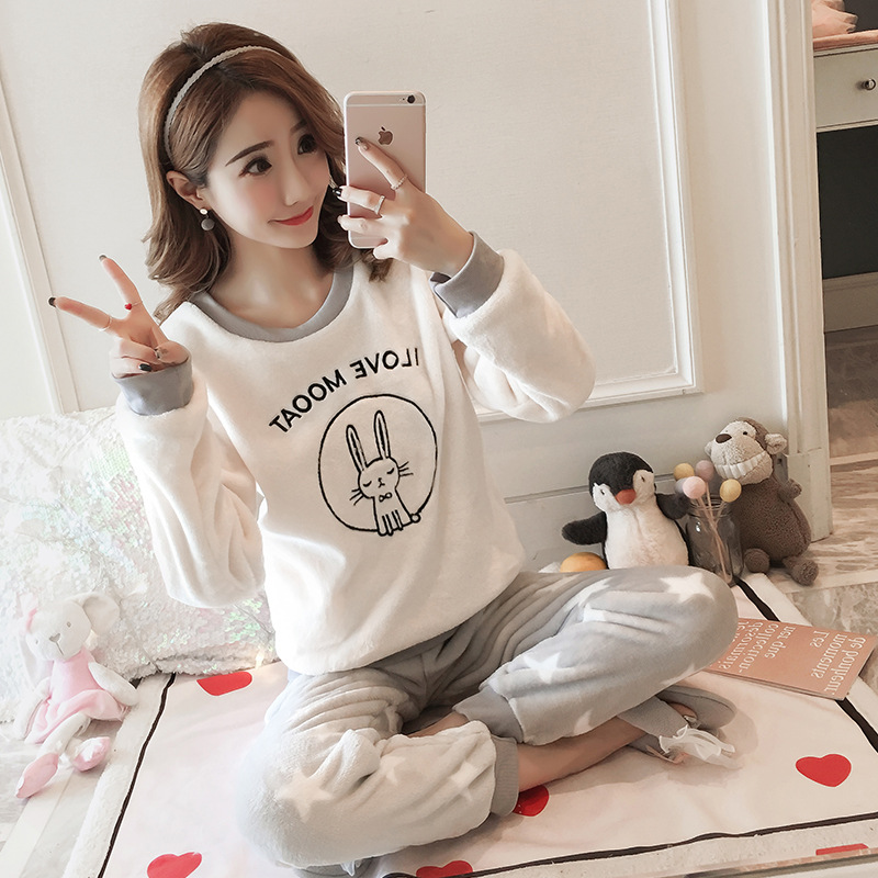 [Temperature Attitude Warm] Winter Pajamas Women's Flannel Thick Sweet Loose Circle Rabbit Long Sleeve Tracksuit
