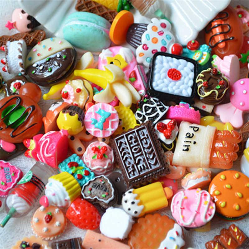 Balçık 10 adet DIY kristal balçık malzemeleri aksesuarları telefon kılıfı dekorasyon için balçık dolgu minyatür reçine kek şeker çocuk oyuncakları E